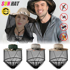 Outdoor Mosquito Head Face Net Hat Sun Bee Insect Bug Protection Hidden Mesh Cap