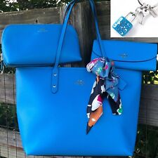 36875 NEW Tags City Coach Tote And Wallet Scarf & Cosmetic Bag Set Azure Blue