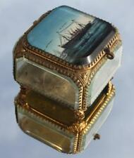 FRENCH LINE CGT SS FRANCE LE HARVE 1912 BIJOUTERIE GLASS JEWELLERY BOX