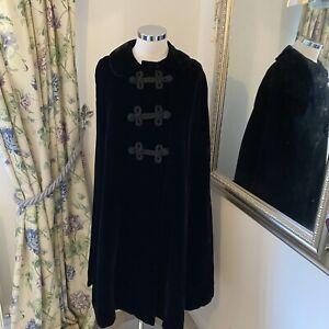 Sophia Spaulding One size vintage stunning long velour black cloak poncho coat