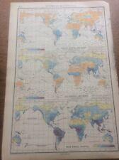 1942 Vintage John Bartholomew Atlas Map 14.75� World Rainfall Isobars & Winds