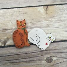 Vintage Hand painted Wood Cat Magnets White and Orange Figures