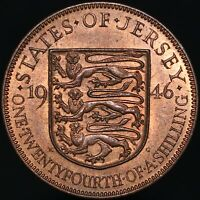 1946 | Jersey George VI One Twentyfourth Of A Shilling | Bronze | KM Coins