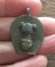 ROMAN. (1ST CENTURY A.D). BRONZE SEAL BOX LID WITH PHALLIC DECORATION.