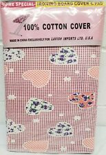 "Padded Ironing Cotton Board Cover and Pad, (54"" boards) Designed Hearts, Lavish"