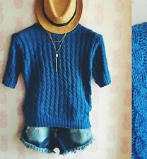 Blue Knitted Pull Over Blouse
