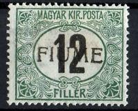 ✔️ FIUME 1918. 12F (black number) Sassone C 2/4 MH*, CV 400€