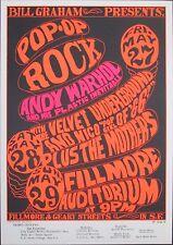 VELVET UNDERGROUND & NICO - ANDY WARHOL - FRANK ZAPPA - 1966 Poster BG 8-3 MINT