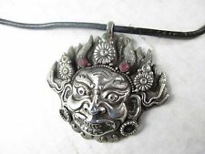 Alt: Mahakala Budda Amulett 925 Silber 2 Rubine Halskette Tibet original 1960