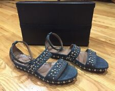 New $1512 Alaia Sandals Shoes Argent Jeans Size 9.5 39 1/2 Italy Blue Sold Out!