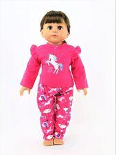"Hot Pink Unicorn Pajama Pant Set Fits 18"" American Girl Doll Clothes"