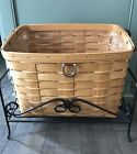 Longaberger Sort & Store Newspaper Basket, Protector & Wrought Iron Stand