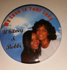 "WHITNEY HOUSTON & BOBBI KRISTINA ""MY LOVE"" BUTTONS- MEMORABILIA- NEW!!"