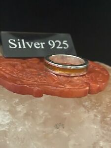Silver Band With Amber Stripe