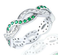 Emerald Round and Clear CZ Sterling Silver Infinity Band Ring
