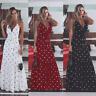 Women Boho Summer Holiday Polka Dot Maxi Dress V-neck Long Dress Size S-XL