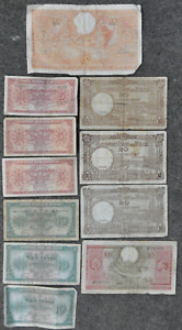 Lot of 11 Vintage Belgium Notes 5 10 20 & 100 Francs WWII