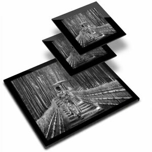 Glass Placemat  & 2x Coaster  - BW - Bamboo Forest Japanese Woman  #42524