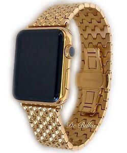 24K Gold Plated 42MM Apple Watch Gen 1 24K Gold Links Butterfly Band