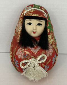 Vintage Japanese Wedding Doll Roly Poly Hime Daruma Doll Brocade Geisha MCM