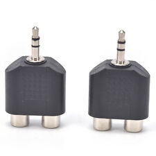 2Pcs 3.5mm Male to 2 Rca Female Y Splitter Av Audio Video Plug Converter Cp