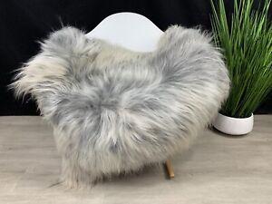 Icelandic Silver Gray Genuine Sheepskin Rug Seat Cover Pelt Hide Fur Blanket
