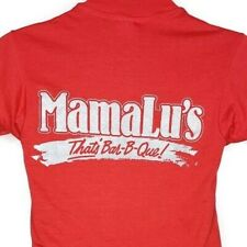 Mama Lus BBQ T Shirt Vintage 80s Ribs 50/50 Made In USA Red Size Small