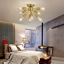 Creative Sputnik Chandelier Brushed Brass Semi Flush Mount Ceiling 8 Light Gold