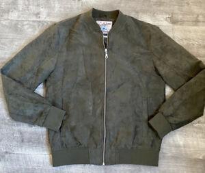 Jack & Jones Originals Faux Suede Green Bomber Jacket