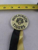 Vintage 1950's 60's HUTCHINSON HIGH SCHOOL TIGERS pinback button pin *KK