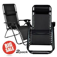 2pcs Zero Gravity Chairs Case Of Black Lounge Patio Chairs Outdoor Yard Beach