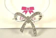 New Silver Tone Wire Bracelet with Beautiful Crystal Bow NWT #B1471