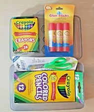 5 Items Crayola Crayons, Pencil Box, Glue Sticks, Kids Scissors, Markers Hb-112