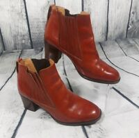 BALLY Women's Italian Brown Leather Ankle Boots Block Heel Slip On Size 6 M