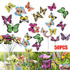 50PCS Butterfly Dragonfly Stakes Outdoor Yard Plant Flower Bed Pot Garden Decor