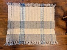 "Vintage Wool Small Rug Blanket 28"" by 36"" Grey Blue White Handmade? Fringe"