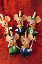 Lot of 5 Collectible VINTAGE Big Ear MOUSE FIGURE, CHRISTMAS ORNAMENT TKR 1960s