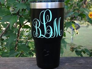 Custom Initial Monogram Vinyl Decal for Stainless Tumblers, Coffee Travel Cups