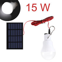 15W Solar Panel Powered LED Lights Bulb Light Tent Lamp Yard Camping Outdoor