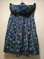 Influence Blue with Bird / Rainbow Print Bandeau Dress - Size 10 (271)