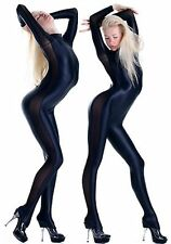 Sexy New Style Plain Black+Silk Lycra spandex zentai costume Catsuit