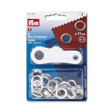 Prym 15 Ösen mit Scheiben (11 mm) in silberfarbig inkl. Werkzeug  #570