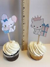 Cat Kitty themed Birthday Theme Cupcake toppers