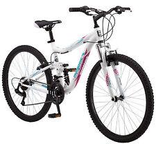 """26"""" Mongoose Ledge 2.1 Dual Suspension Mountain Bike, White"""