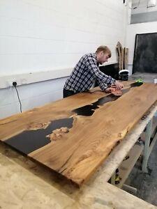 Epoxy resin & live edge wood dining table. 10+ seater. Poplar, Oak, Elm, Walnut