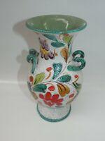 Vase vintage en Céramique Décor Floral, Fleurs, Polychrome, Italie 1950