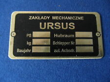 Typenschild für Ursus C 45/ C 451 - deutsch - Messing geätzt- Hersteller Dampol