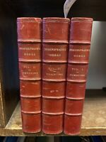 The Works, William Shakespeare. 3 Volumes. Leather Bound. MacMillan & Co 1909