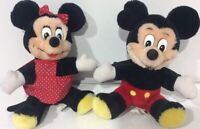 Vintage Retro Mickey & Minnie Mouse Plush Walt Disney World Disneyland Small 8""