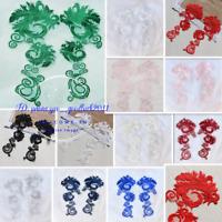 2PC Venice lace flower trim motif sewing appliques lace triming for dress FL216